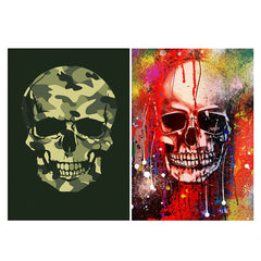 Set of 2 posters with designs like Camouflage skull design Matte Laminated 12 inches*18 inches posters
