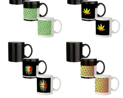 Marihuana pattern design 330 ml black magic mugs| Design appears when hot water is poured.