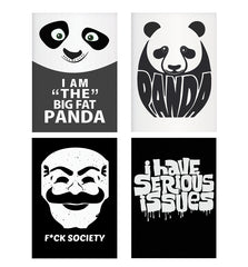 Set of 4 posters with designs like I am the big fat Panda  design,  Decorate your walls, wardrobes with these 12 inches * 18 inches posters
