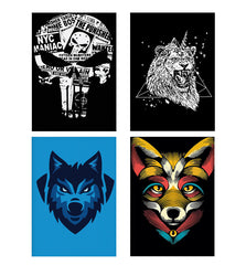 Set of 4 posters with designs like Evil skull designDecorate your walls, wardrobes with these 12 inches * 18 inches posters