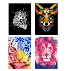 Set of 4 posters with designs like Furious unicorn design Decorate your walls, wardrobes with these 12 inches * 18 inches posters