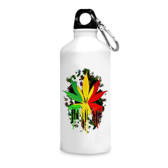 Marihuana colour contrasting pattern design printed white 750 ml sipper bottle