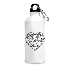Black & white geometrical heart design printed white 750 ml sipper bottle