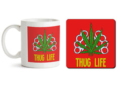 1 mug and 1 coaster with design as: Thug life   330 ml mug and 4 inches coaster