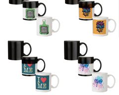 I drink to make other people more interesting  design,   330 ml black magic mugs| Design appears when hot water is poured.
