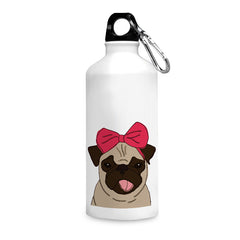 Pug with a bow on head sketch design  printed white 750 ml sipper bottle