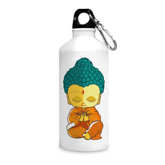 Buddha caricature design printed white 750 ml sipper bottle
