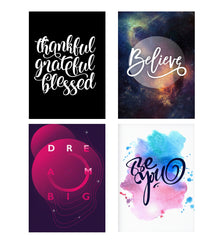 Set of 4 posters with designs like Be thankful - motivating deignDecorate your walls, wardrobes with these 12 inches * 18 inches posters