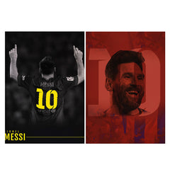 Set of 2 posters with designs like No.10 Lionel Messi Barcalona Matte Laminated 12 inches*18 inches posters