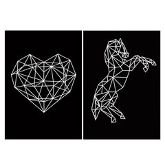 Set of 2 posters with designs like Black & white geometrical heart design Matte Laminated 12 inches*18 inches posters