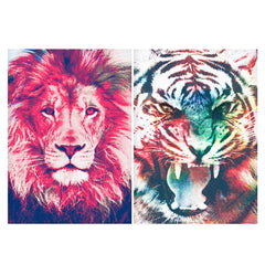 Set of 2 posters with designs like Zoomed pixel look of Lion design Matte Laminated 12 inches*18 inches posters