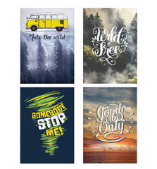 Set of 4 posters with designs like Into the wild for travel Wanderlust people Decorate your walls, wardrobes with these 12 inches * 18 inches posters