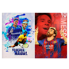 Set of 2 posters with designs like Federer and Nadal Oil Fan art design,   Matte Laminated 12 inches*18 inches posters