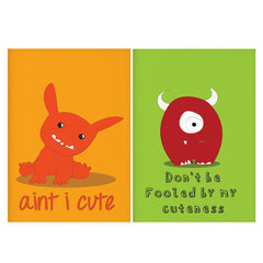 Set of 2 posters with designs like Ain't I cute design Matte Laminated 12 inches*18 inches posters