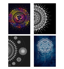 Set of 4 posters with designs like Colourful Om rangoli designDecorate your walls, wardrobes with these 12 inches * 18 inches posters