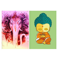 Set of 2 posters with designs like Lord Ganesha design  Matte Laminated 12 inches*18 inches posters