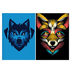 Set of 2 posters with designs like Wolf logo design Matte Laminated 12 inches*18 inches posters