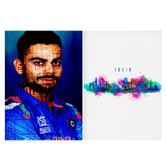 Set of 2 posters with designs like Virat Kohli India inscribed design  Matte Laminated 12 inches*18 inches posters