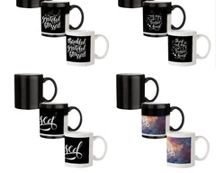 Be thankful - motivating deign 330 ml black magic mugs| Design appears when hot water is poured.