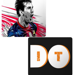 Set of 2 printed mousepads with designs like Messi illustration design,