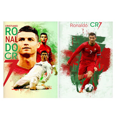 Set of 2 posters with designs like Cristiano Ronaldo CR7 design Matte Laminated 12 inches*18 inches posters
