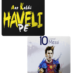 Set of 2 printed mousepads with designs like Aao kabhi haveli pe  design,