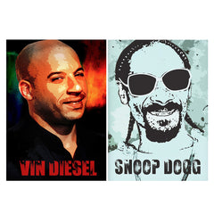 Set of 2 posters with designs like Vin Diesel Oil Painting Fan art design,   Matte Laminated 12 inches*18 inches posters