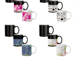 Girly colourful pattern  330 ml black magic mugs| Design appears when hot water is poured.