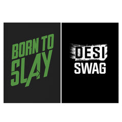 Set of 2 posters with designs like Born to Slay Design Matte Laminated 12 inches*18 inches posters