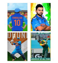 Set of 4 posters with designs like Sachin Tendulkar 10  Decorate your walls, wardrobes with these 12 inches * 18 inches posters
