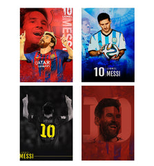 Set of 4 posters with designs like Lionel Messi Fan Art FCB 10 design,  Decorate your walls, wardrobes with these 12 inches * 18 inches posters