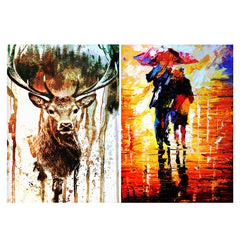 Set of 2 posters with designs like Reindeer canavs painting Matte Laminated 12 inches*18 inches posters