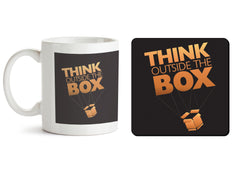1 mug and 1 coaster with design as: Think Outside The Box- Entrepreneur Lines design,   330 ml mug and 4 inches coaster
