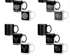 Ethnic design on black pattern 330 ml black magic mugs| Design appears when hot water is poured.