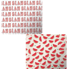 Set of 2 printed mousepads with designs like Blah Blah Blah design