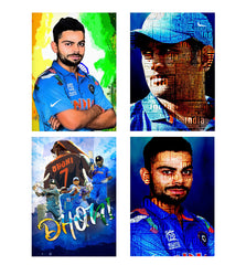 Set of 4 posters with designs like Virat Kohli Oil Painting India design,  Decorate your walls, wardrobes with these 12 inches * 18 inches posters