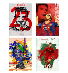 Set of 4 posters with designs like David Beckham 23 Real Madrid design,  Decorate your walls, wardrobes with these 12 inches * 18 inches posters