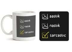 1 mug and 1 coaster with design as: Aastik, nastik and sarcastic design 330 ml mug and 4 inches coaster