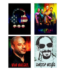 Set of 4 posters with designs like America tunes Blue sprayed  Decorate your walls, wardrobes with these 12 inches * 18 inches posters