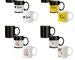 Hash tag love design 330 ml black magic mugs| Design appears when hot water is poured.