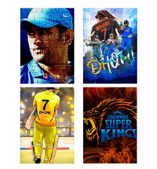Set of 4 posters with designs like M.S. Dhoni design Decorate your walls, wardrobes with these 12 inches * 18 inches posters