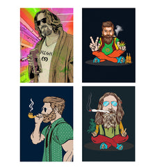 Set of 4 posters with designs like Abstract weed smoking designDecorate your walls, wardrobes with these 12 inches * 18 inches posters