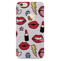 Sexy Red Lips Design Apple Iphone 6 plus with round cut hard plastic all side printed back cover.