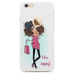 I love Shopping Girly design Apple Iphone 6 plus with round cut hard plastic all side printed back cover.