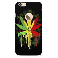 Marijuana colour dripping design    Apple Iphone 6 with round cut hard plastic printed back cover