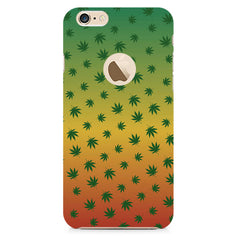 Multicolour leaf overall design Apple Iphone 6 with round cut hard plastic printed back cover