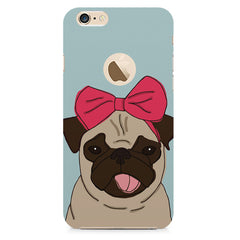 Pug with a bow on head sketch design    Apple Iphone 6 with round cut hard plastic printed back cover