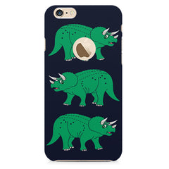 Stegosaurus cartoon design Apple Iphone 6 with round cut hard plastic printed back cover