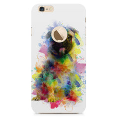 Colours splashed pug all side printed hard back cover by Motivate box Apple Iphone 6 with round cut hard plastic all side printed back cover.