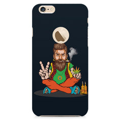 Man smoking joint pattern Apple Iphone 6 with round cut hard plastic all side printed back cover.
